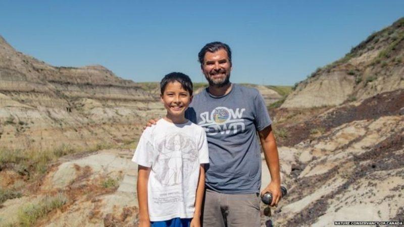 Menino de 12 anos descobre esqueleto raro de dinossauro no Canadá