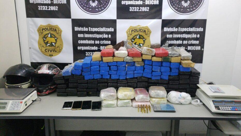 Polícia Civil prende 9 e apreende drogas avaliadas em R$ 1,3 milhão no RN