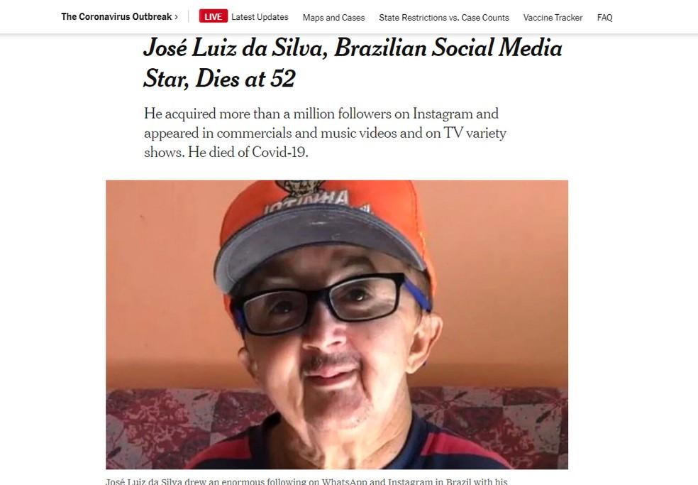 Morte do humorista Jotinha é repercutida pelo 'New York Times'; no jornal, ele é chamado de 'Little J.'