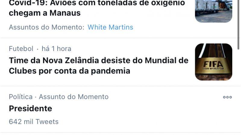 """""""#BolsonaroAté2026"""" é o assunto mais comentado do Twitter"""