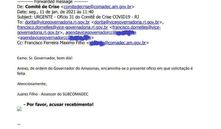 Pedido de oxigênio feito pelo governo do Amazonas ao estado do RJ foi enviado para e-mail errado