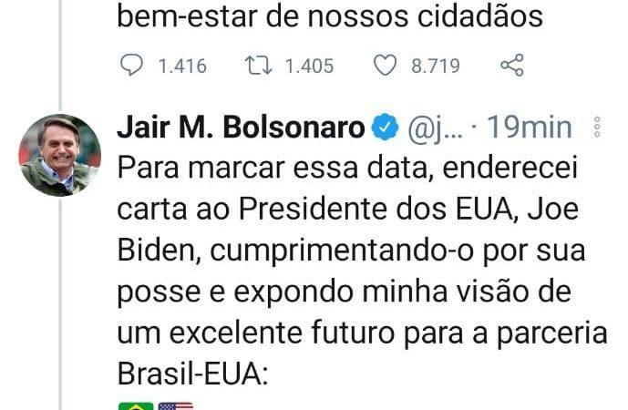 Bolsonaro envia carta a Biden, Veja na íntegra