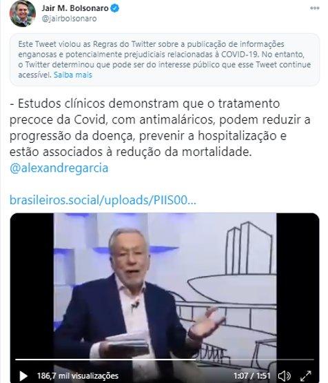 Começou: Twitter começa a censurar as postagens de Bolsonaro assim como fez com Trump