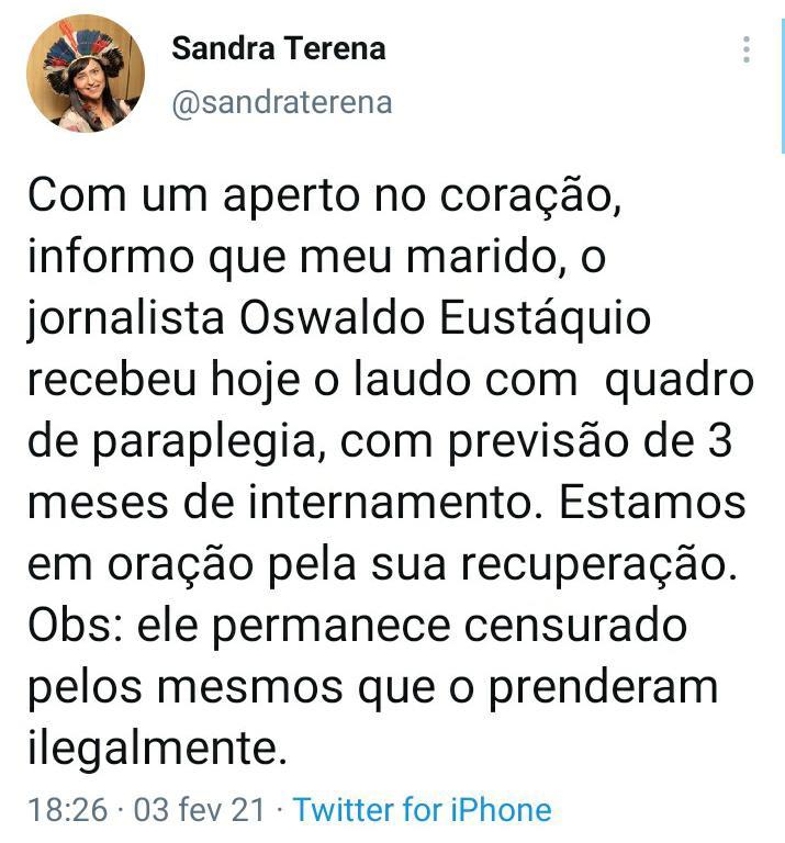 URGENTE – jornalista Oswaldo Eustáquio é diagnosticado com paraplegia