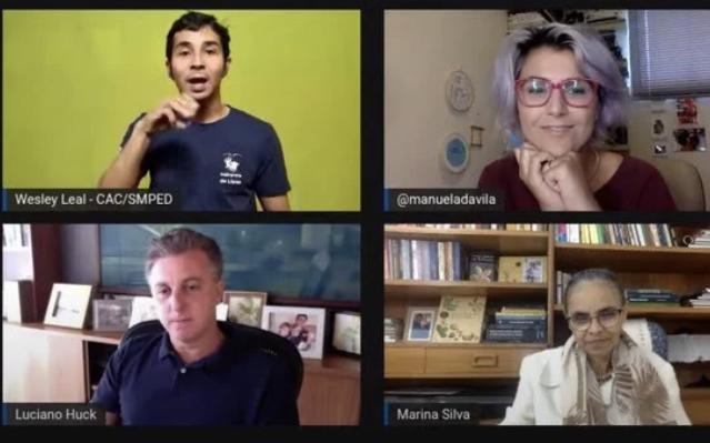 """Ao lado de Marina e Manuela, Luciano Huck diz que gestão de Bolsonaro é """"entulho"""" e fala em """"somar forças"""""""