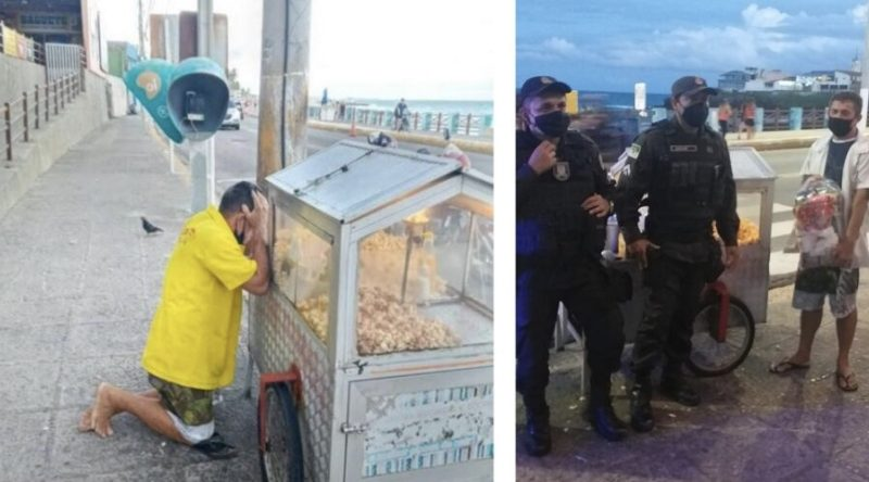 Após foto de pipoqueiro chorando em praia de Natal viralizar, PMs arrecadam doações para o ambulante