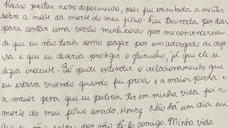 Em carta, mãe de Henry muda versão e relata agressões de Jairinho