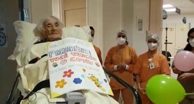 Idosa de 110 anos recebe alta após se recuperar de Covid-19 em SP