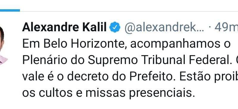 BOMBA: Prefeito de Belo Horizonte desafia Ministro Nunes Marques e diz que o que vale é o decreto dele
