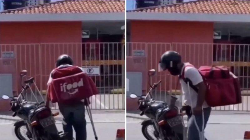 Motoboy que trabalha com perna fraturada na PB comove internautas e ganha vaquinha. Veja Vídeo