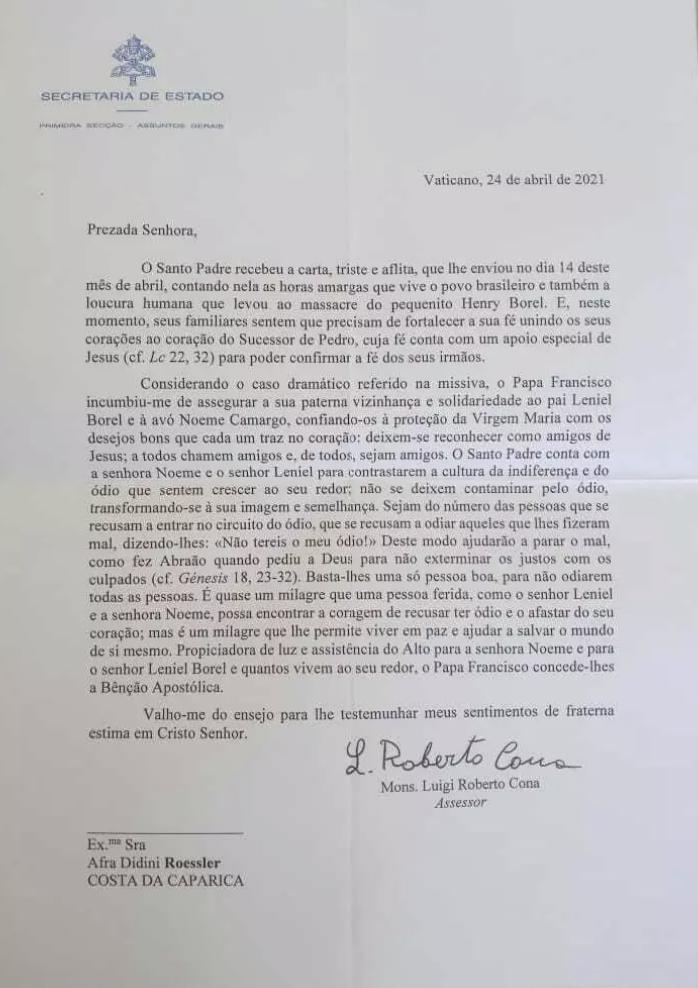 408936F0-BC7B-4717-AD73-C23BC0B1AA89 Papa Francisco manifesta solidariedade em carta ao pai de menino Henry Borel; LEIA