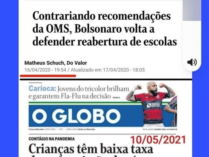 Bolsonaro tinha razão: Estudo aponta que crianças têm taxa de transmissão de Covid-19 baixa; presidente defende retorno às aulas há 1 ano e foi criticado