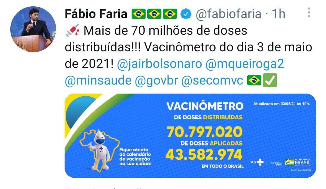 URGENTE: 70 milhões de vacinas distribuídas, afirma ministro Fábio Faria