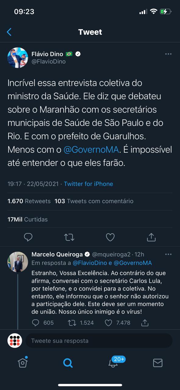 """Flávio Dino tenta criar narrativa e Ministro da saúde o """"desmascara"""""""
