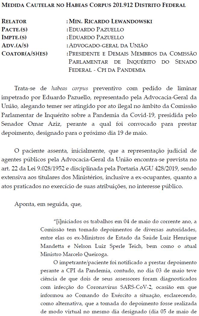 URGENTE: STF atende pedido da AGU e Pazzuelo pode ficar em silêncio na CPI de Renan