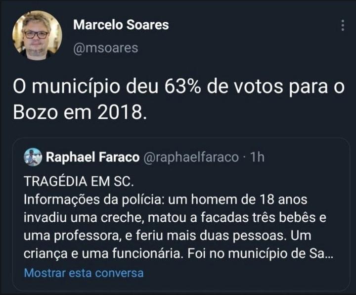 Jornalista da Folha de São Paulo tenta relacionar tragédia de SC a Bolsonaro