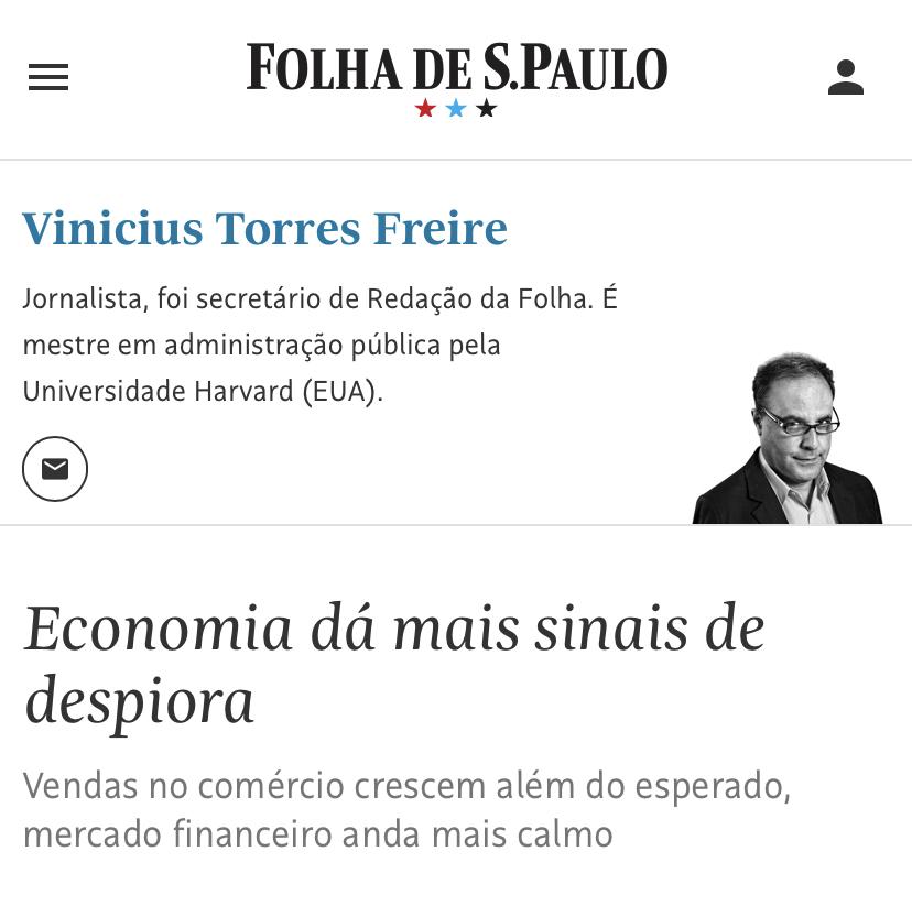 Folha de SP chama avanço na economia do Brasil de 'sinais de despiora'