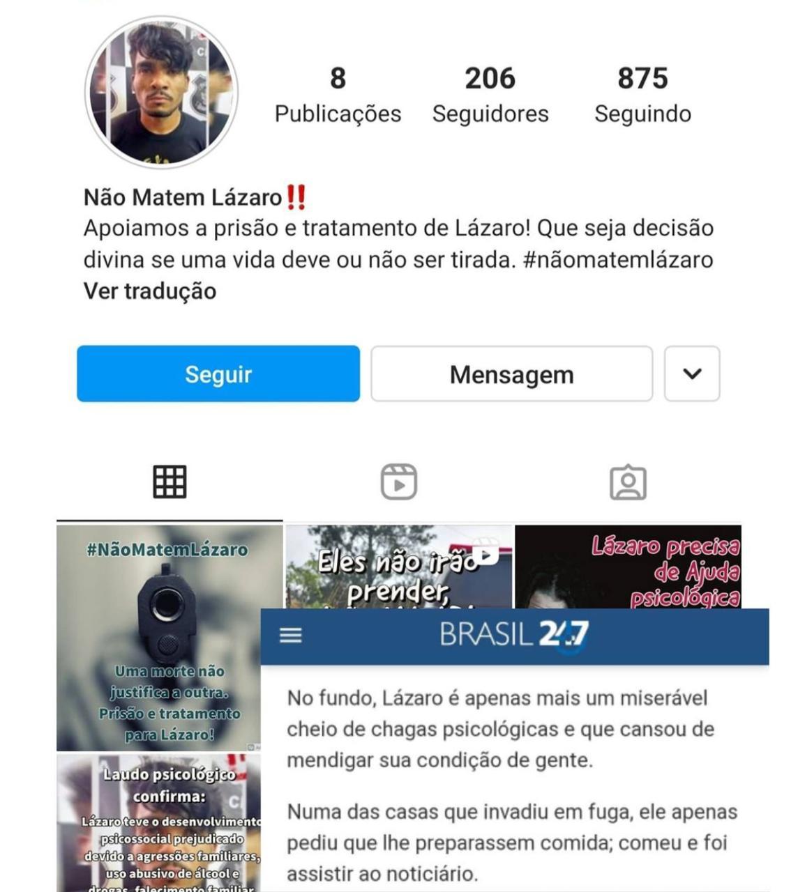 """Portal de esquerda inicia processo de """"vitimização"""" de Lázaro, 'serial killer do DF': """"Cheio de chagas psicológicas"""""""