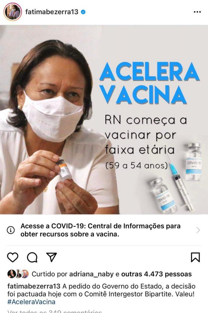 Mente muito: MPs e Defensoria desmentem Fátima Bezerra sobre avanço da vacinação por faixa etária em Natal