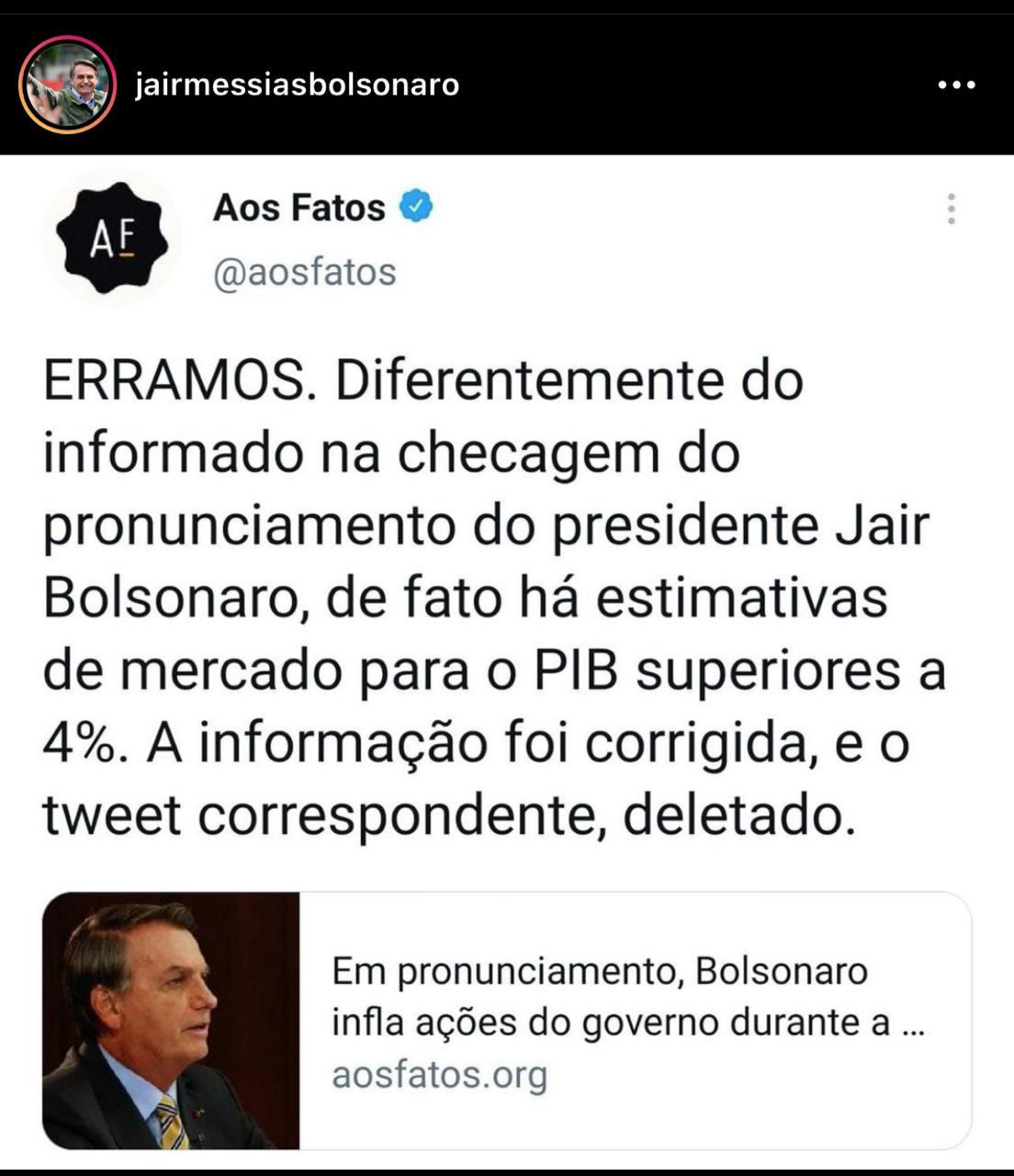 Após denúncia do Terra Brasil Noticias, agência de checagem reconhece erro sobre fala de Bolsonaro e se retrata