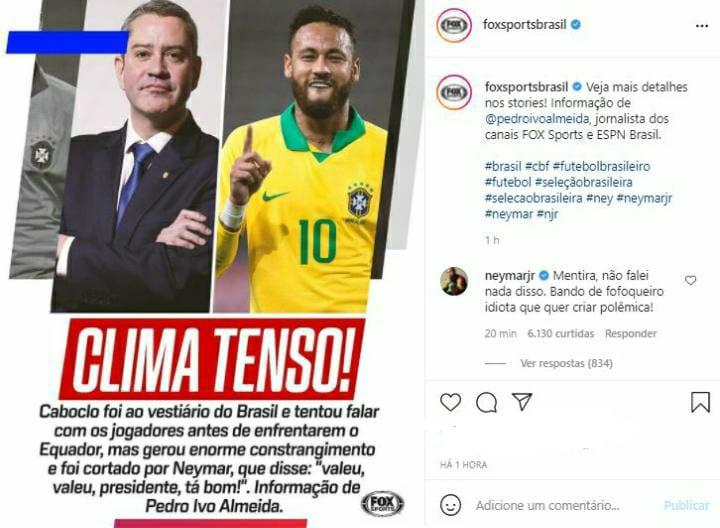 """Neymar desmente afirmações sobre 'clima tenso' com presidente da CBF: """"Mentira. Bando de fofoqueiro idiota que quer criar polêmica"""""""