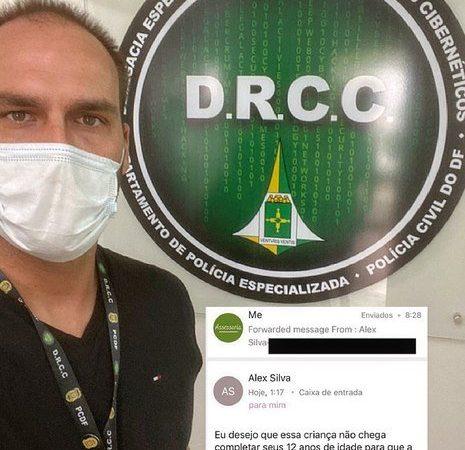 Após ameaças à filha, Eduardo Bolsonaro faz boletim de ocorrência