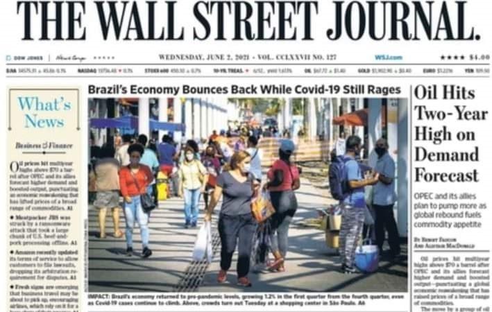 Destaque na Economia: Brasil é capa do 'The Wall Street Journal' pela recuperação econômica