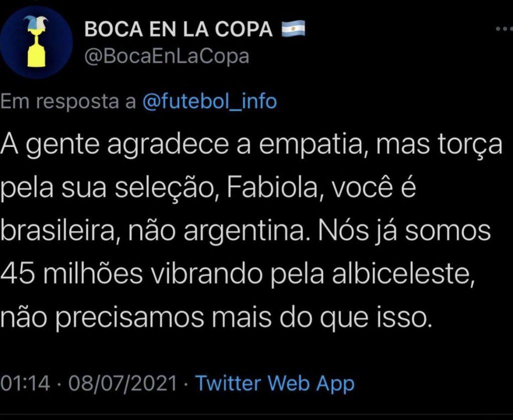 """8E1CF5E4-619D-437B-82E6-368BF280C9D4-1024x840 """"Argentinos detonam jornalista do Grupo Globo que afirmou torcer pela Argentina na final da Copa América: """"Não precisamos!"""""""