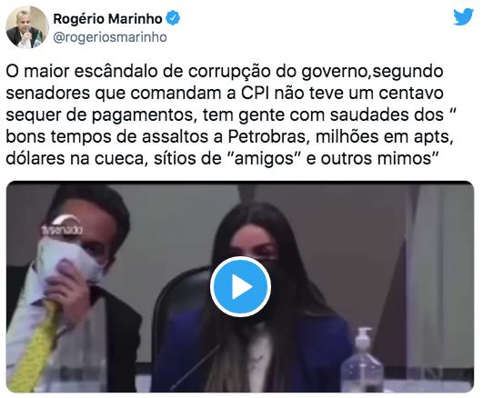 """Captura-de-Tela-2021-07-16-a%CC%80s-19.37.35 Rogério Marinho: """"O maior escândalo de corrupção do governo, segundo senadores que comandam a CPI, não teve um centavo sequer de pagamentos"""""""