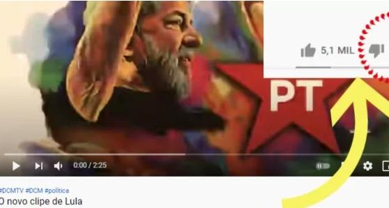 PT fracassa e clipe de Lula recebe chuva de deslikes
