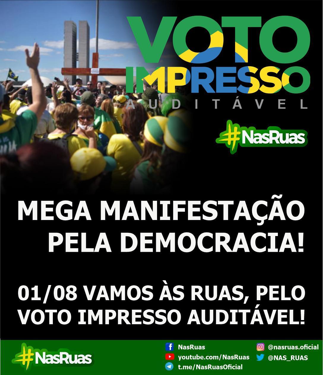 """Urgente: Movimentos e milhares de pessoas em redes sociais se mobilizam para 'megamanifestação' em defesa do voto auditável: """"O Brasil vai parar"""""""