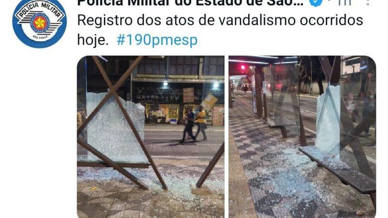 Twitter oficial da PM de SP classifica atos da esquerda como vandalismo