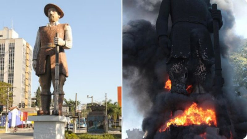 Em SP, estátua de Borba Gato é incendiada por Militantes de esquerda