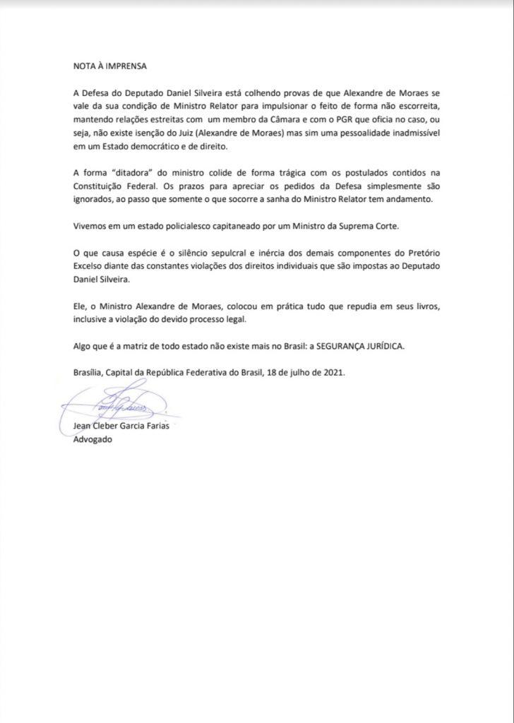 """img_2016-728x1024 URGENTE: Advogado de Daniel Silveira rompe o silêncio, lança dura nota e dispara: """"Moraes está interferindo na Câmara e na PGR"""""""