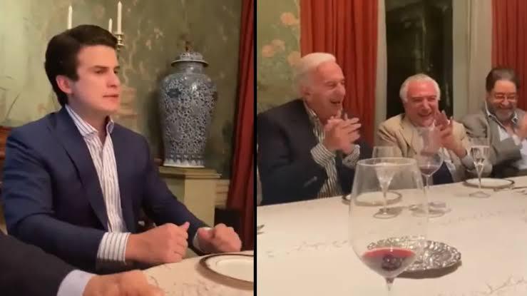 Em mesa com Michel Temer, humorista do Pânico faz piada com carta de Bolsonaro; VEJA VÍDEO