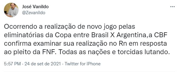 FNF Natal pode receber Brasil x Argentina pelas Eliminatórias da Copa do Mundo, diz presidente da FNF