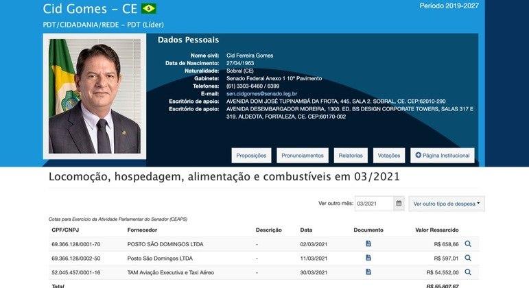 print-senador Cid Gomes freta avião para viajar de Fortaleza a Salvador e pede reembolso de R$ 54 mil ao Senado